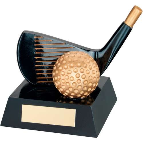 Black/Gold Resin Golf 'Wedge' Trophy