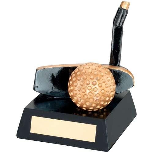 Black/Gold Resin Golf 'Putter' Trophy