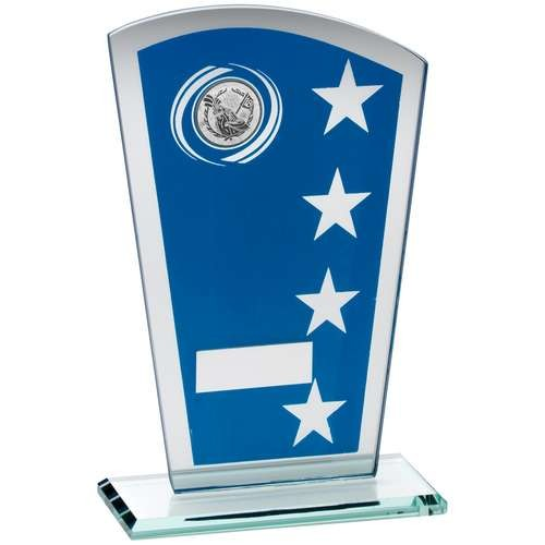 Blue/Silver Printed Glass Shield with Golf Insert Trophy