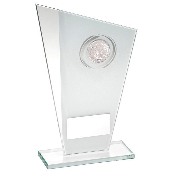 White/Silver Printed Glass Plaque With Golf Insert Trophy