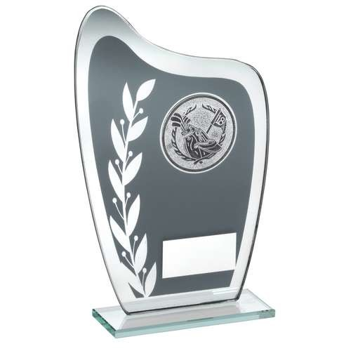 Grey/Silver Glass Plaque with Golf Insert Trophy