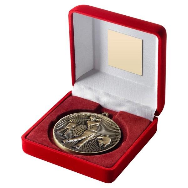 Red Velvet Box and 60mm Golf Medal