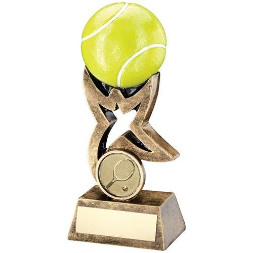 Bronze/Gold/Yellow Tennis Ball on Star Riser Trophy