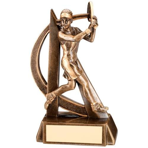 Bronze/Gold Female Tennis Geo Figure Trophy