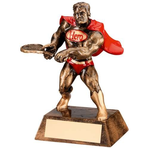 Bronze/Gold/Red Resin Tennis 'Hero' Trophy