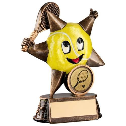 Bronze/Gold/Yellow Resin Tennis 'Comic Star' Figure Trophy