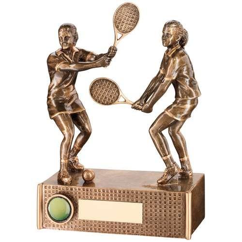 Bronze/Gold Tennis Female Doubles Trophy