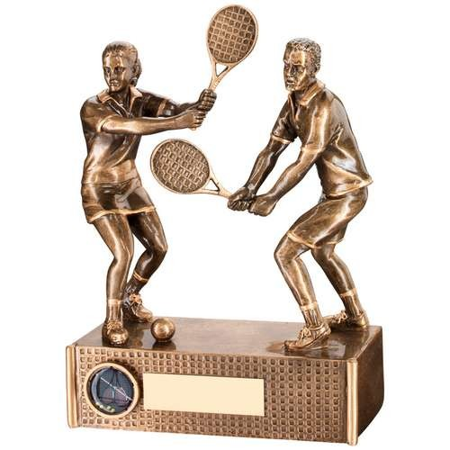 Bronze/Gold Tennis Mixed Doubles Trophy