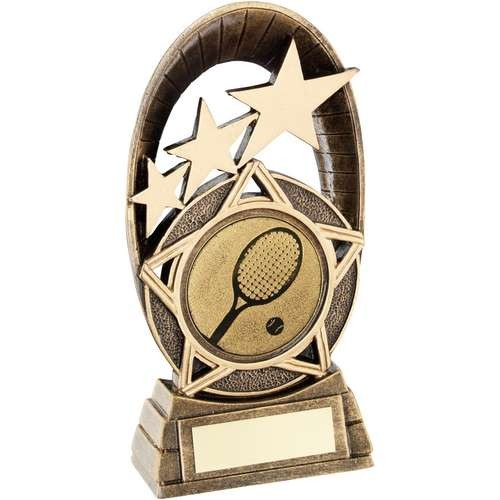 Bronze/Gold Generic Tri-Star Oval with Tennis Insert Trophy