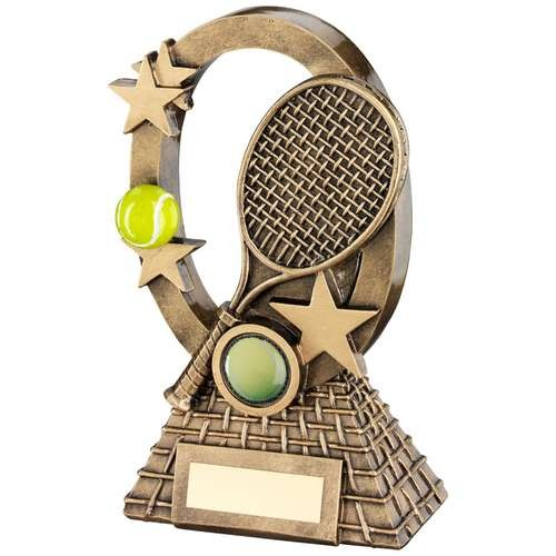 Bronze/Gold/Yellow Tennis Oval/Stars Series Trophy
