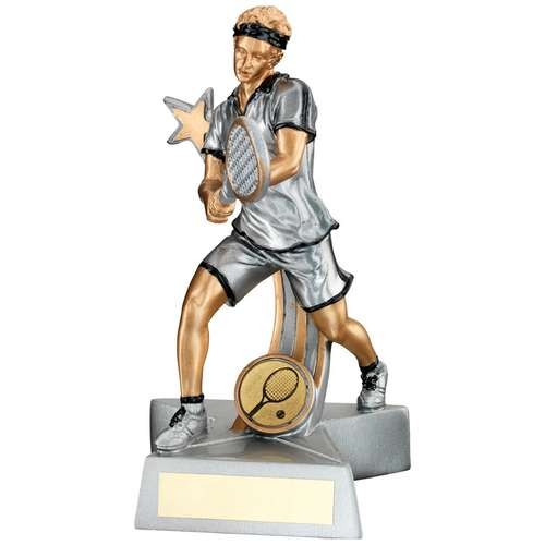 Silver/Gold/Black Resin Male Tennis 'Star Action' Figure Trophy