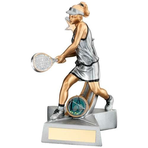 Silver/Gold/Black Resin Female Tennis 'Star Action' Figure Trophy