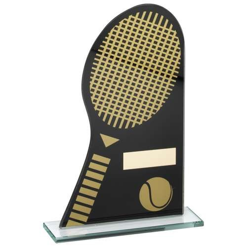 Black/Gold Printed Glass Plaque with Tennis Racket/Ball Trophy