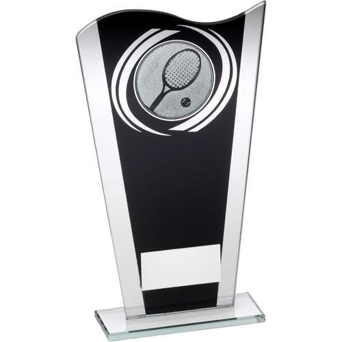Black/Silver Printed Glass Plaque with Tennis Insert Trophy