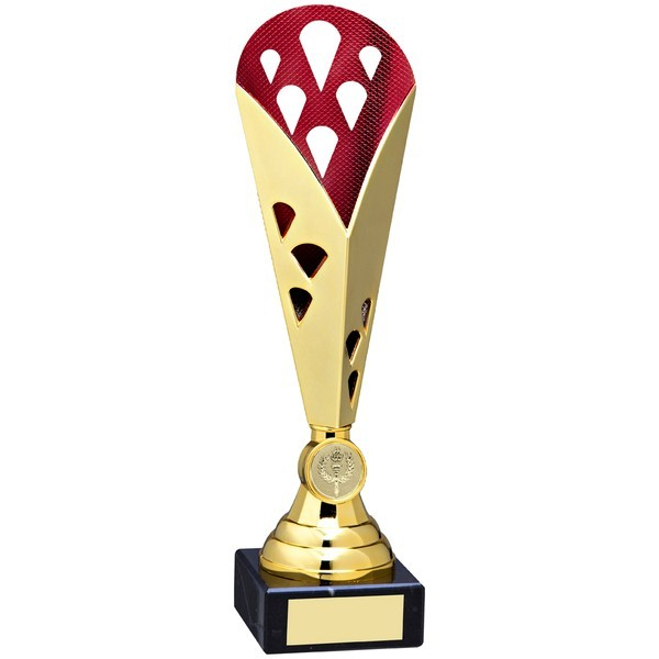 Gold/Red Tall Plastic Triangle Trophy