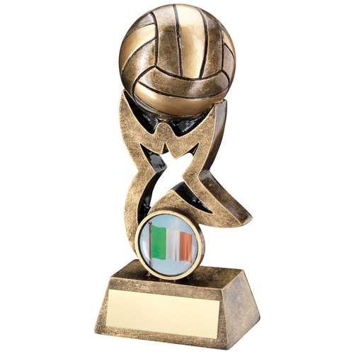 Bronze/Gold Gaelic Football on Star Trophy Riser Trophy