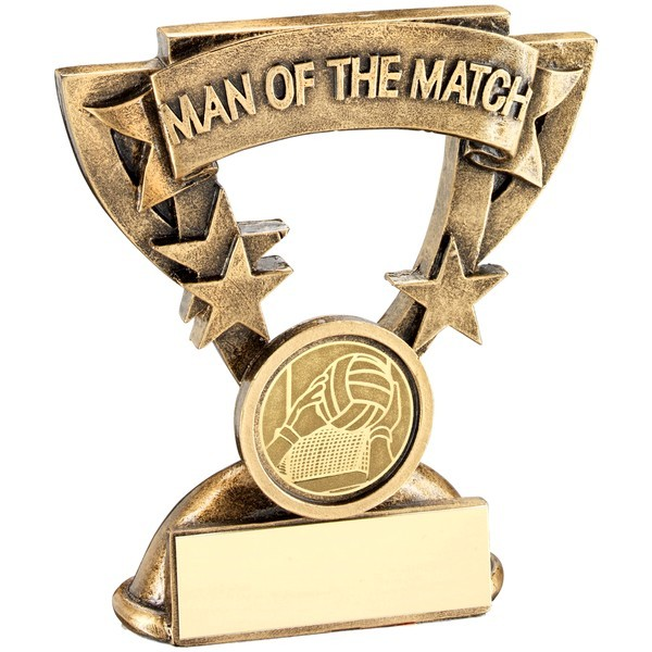 Bronze/Gold Man Of The Match Mini Cup With Gaelic Football Insert Trophy
