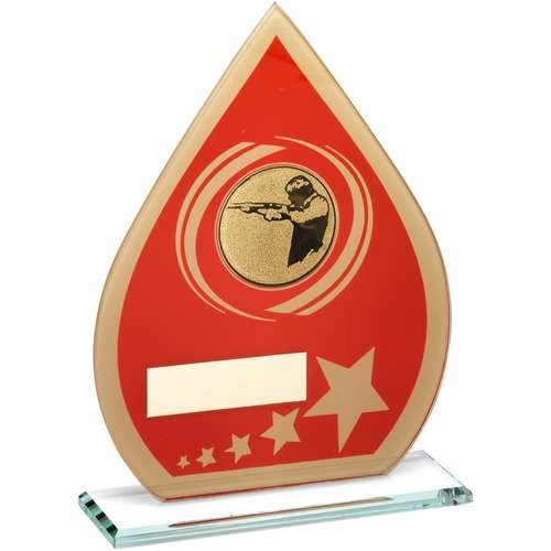 Red/Gold Printed Glass Teardrop with Shooting Insert Trophy