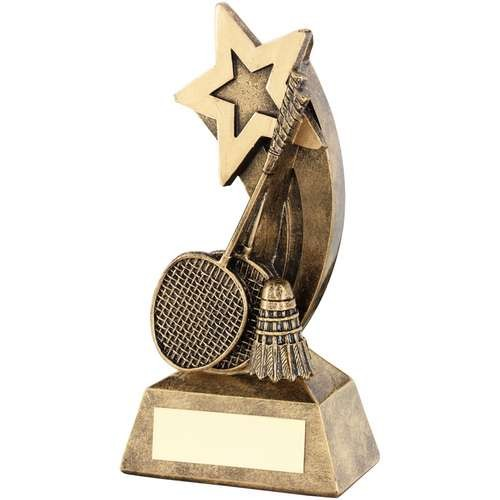 Bronze/Gold Badminton Rackets/Shuttlecock with Shooting Star Trophy