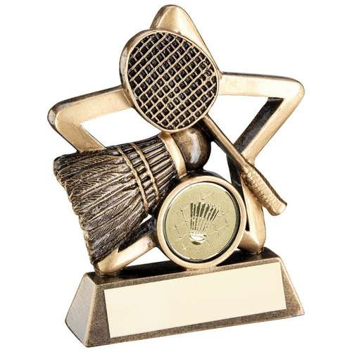 Bronze/Gold Badminton Mini Star Trophy