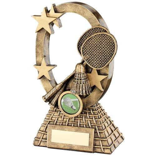 Bronze/Gold Badminton Oval/Stars Series Trophy