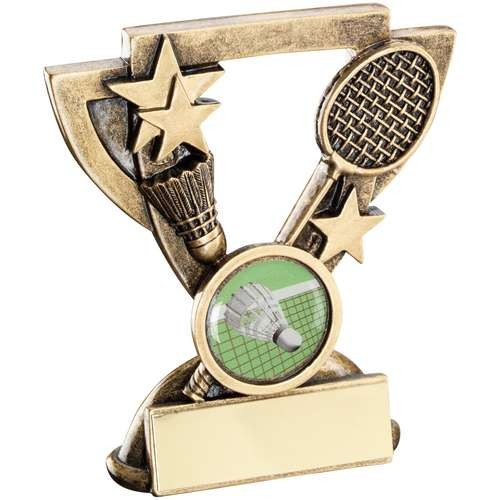 Bronze/Gold Badminton Mini Cup Trophy