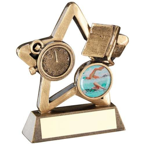 Bronze/Gold Swimming Mini Star Trophy