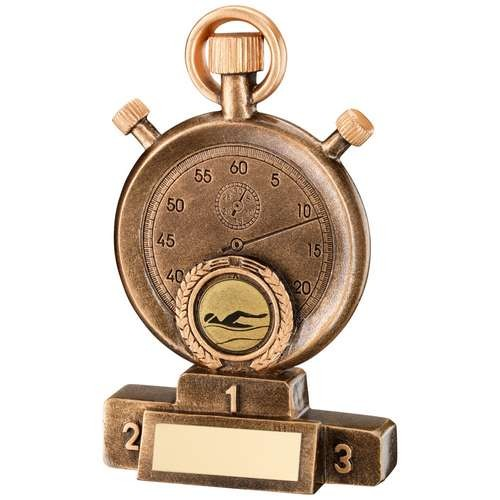 Bronze/Gold Swimming Stopwatch on Podium Trophy