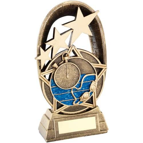 Bronze/Gold/Blue Swimming Tri-Star Oval Plaque Trophy