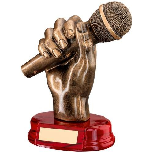 Bronze/Gold Resin Microphone in Hand Trophy