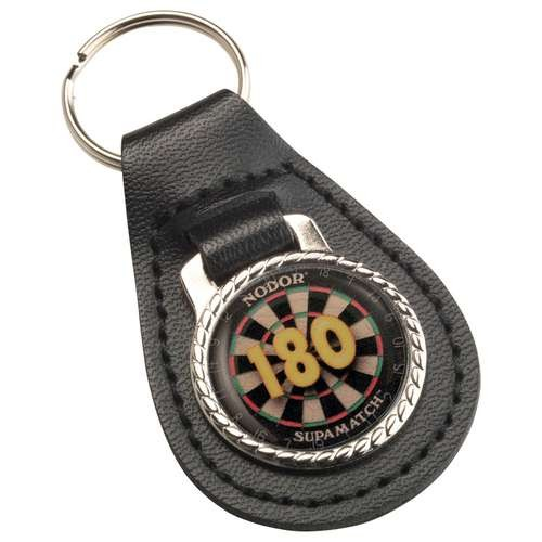 "Darts ""180"" Black Leather Key Fob"