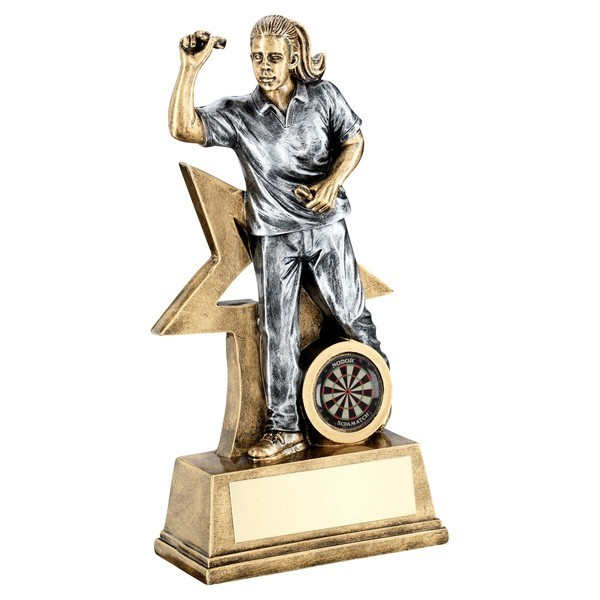 Bronze / Gold Female Darts Figure with Star Backing Trophy