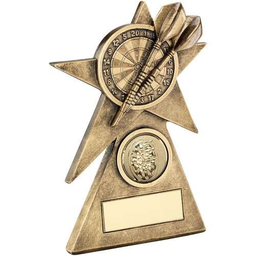 Bronze/Gold Darts Star on Pyramid Base Trophy