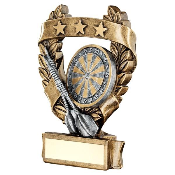 Bronze / Gold Darts 3 Star Wreath Trophy