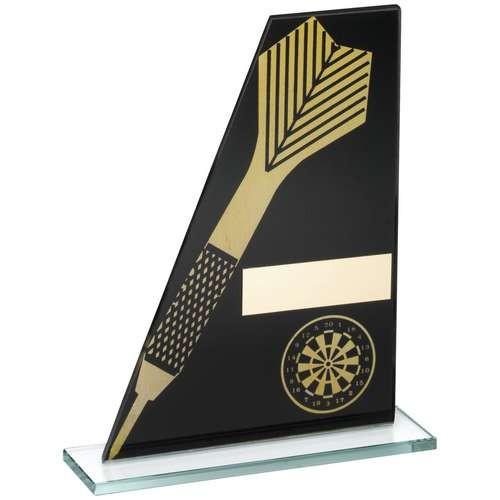 Black/Gold Printed Glass Plaque with Dart/Dartboard Trophy