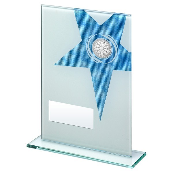 White Printed Glass Rectangle with Darts Insert