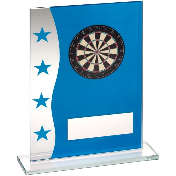 Blue/Silver Printed Glass Plaque With Dartboard Image Trophy