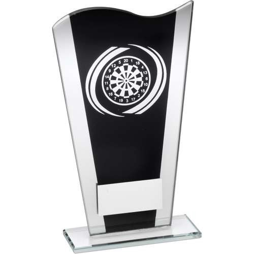 Black/Silver Printed Glass Plaque with Silver Darts Swirl Trophy