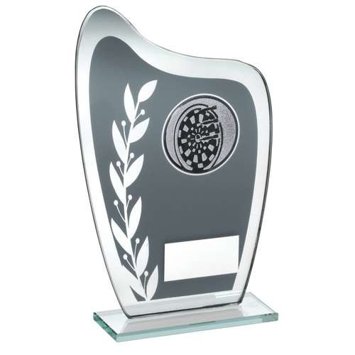 Grey/Silver Glass Plaque with Darts Insert Trophy