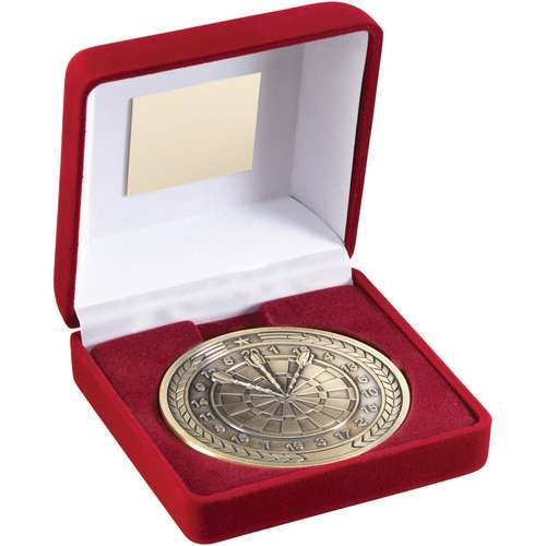Red Velvet Box and 70mm Medallion Darts Trophy
