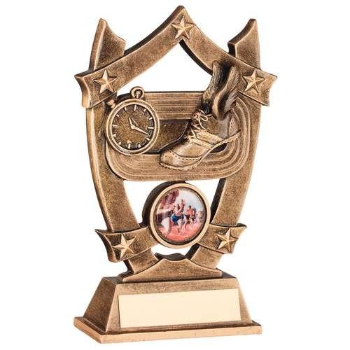 Bronze/Gold Athletics 5 Star Shield Trophy
