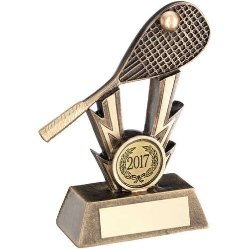 Bronze/Gold Squash Racket on Strikes Trophy