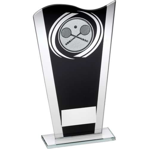 Black/Silver Printed Glass Plaque with Squash Insert Trophy