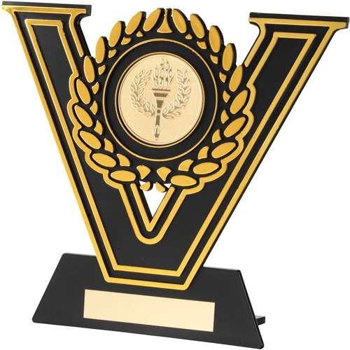 Black/Gold Plastic Plaque Trophy