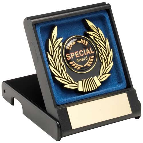 Black/Blue Plastic Box and Gold Trim Trophy