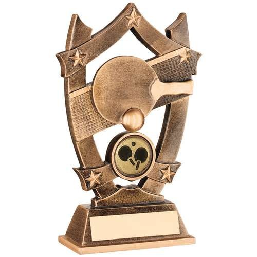 Bronze/Gold Resin Table Tennis 5 Star Trophy