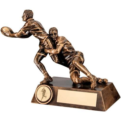 Bronze/Gold Double Rugby 'Tackle' Figure Trophy