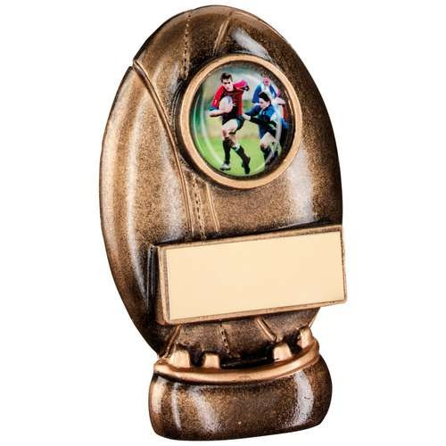 Bronze/Gold Resin Rugby Ball and Kicking Tee Trophy