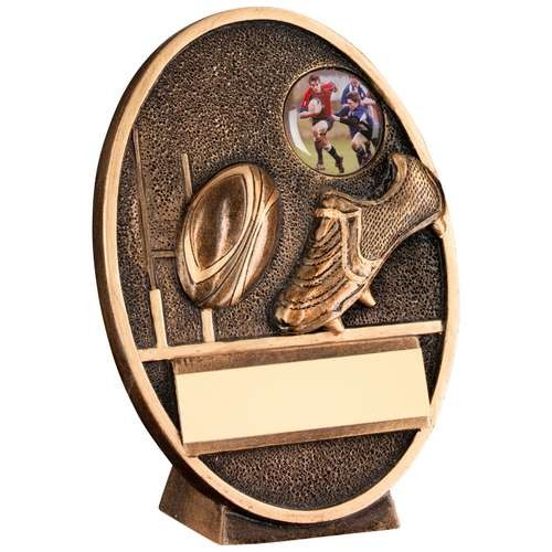 Bronze/Gold Rugby Ball and Boot Oval Plaque Trophy