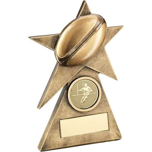 Bronze/Gold Rugby Star on Pyramid Base Trophy
